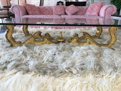 Gilt Carved Wood Coffee Table With Glass Top
