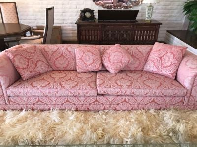 Pink Designer Sofa With Matching Throw Pillows