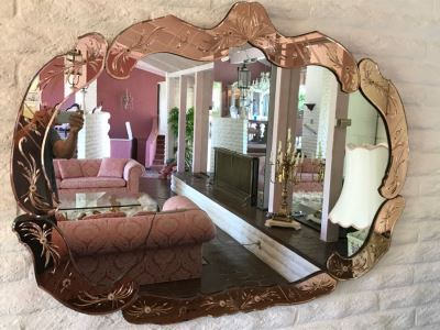 Stunning Vintage Designer Venetian Etched Glass Mirror Light Pink
