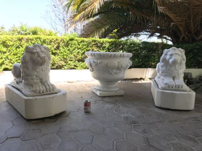 Pair Of Large Cement Posing Lion Statues On Wooden Bases - Does Not Include Urn Planter