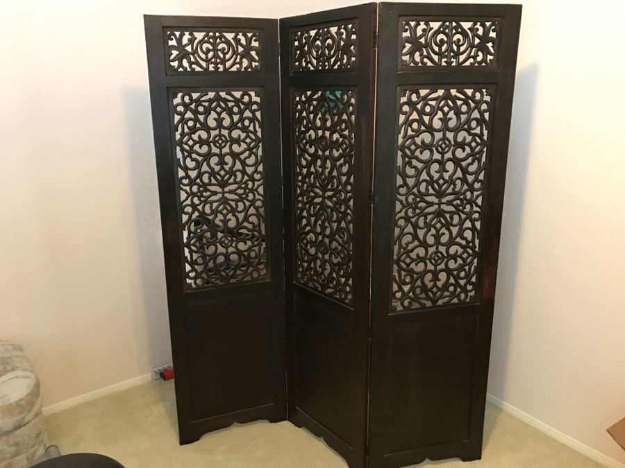 Stunning Ornate Carved Ironwood 3 Panel Space Room Divider Screen