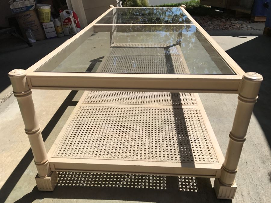 Cream Colored Wood And Glass Coffee Table With Cane Bottom Shelf [Photo 1]