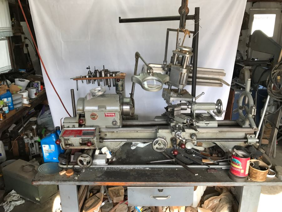 DELTA ROCKWELL Industrial Lathe With Attachments, Cutters And Everything In Drawer And On Lathe [Photo 1]