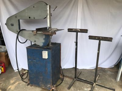 Custom Band Saw With Attachments And Two Adjustable Steel Roller Stands - Band Saw Cabinet Has Casters