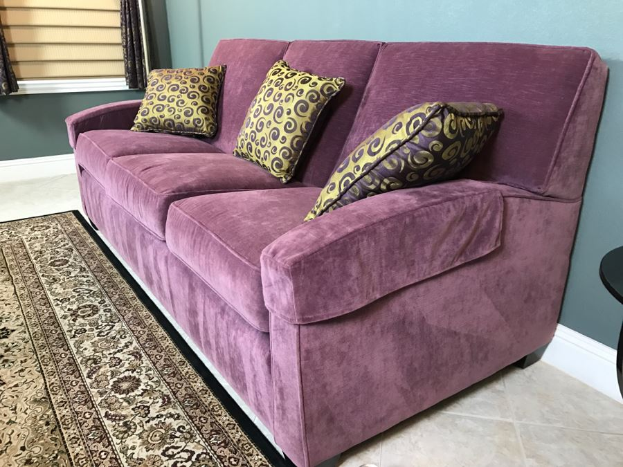 Nice Ethan Allen Light Purple Sofa Couch With 3 Throw Pillows