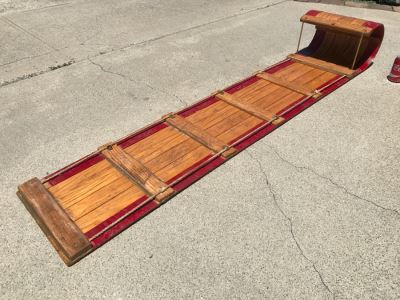 Vintage Long Wooden Snow Sled Toboggan