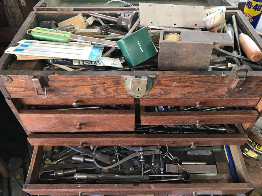 Vintage Wooden Machinist Toolbox LOADED With Tools And Measuring Instruments [Photo 1]