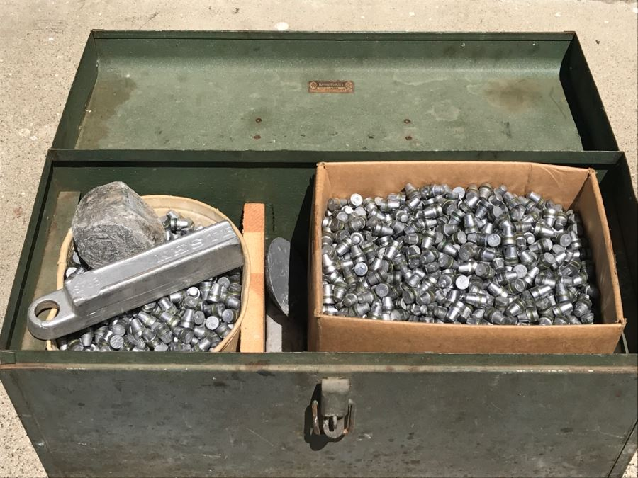 Vintage Kennedy Kits Metal Toolbox LOADED With Custom Cast LEAD Bullets .45 Caliber Made From Bullet Mold Featured In This Sale 160LBS Worth [Photo 1]
