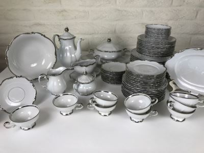 Classy China Set ~79 Pieces Mitterteich Bavaria 'Platinum Princess' Germany White With Silver Rim