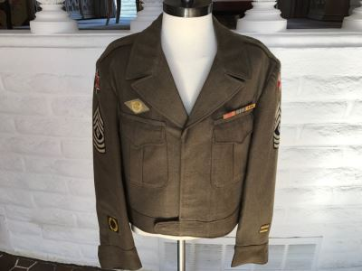 Vintage WWII Military Jacket With Patches And Ribbon Size 40R 6th Army And 8th Army Patch