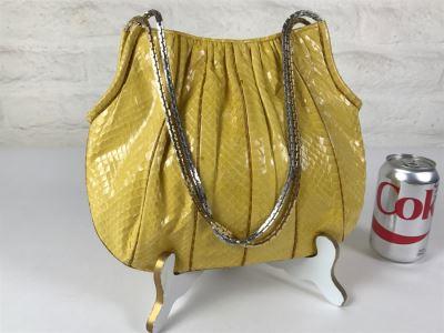 Vintage Judith Leiber Yellow Snakeskin Handbag Purse