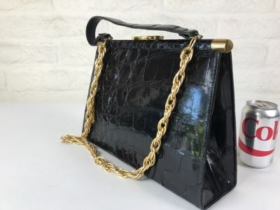 Genuine Alligator Black Handbag By Vassar