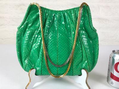 Vintage Judith Leiber Green Snakeskin Handbag Purse