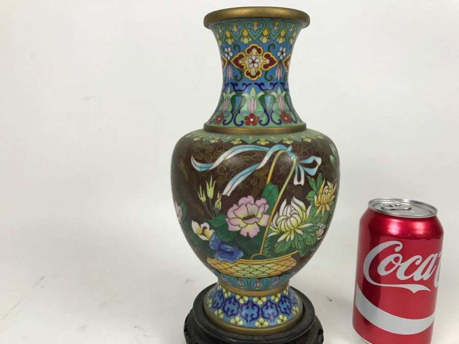 Zi Jin Cheng Vintage Chinese Cloisonne Vase With Wooden Stand