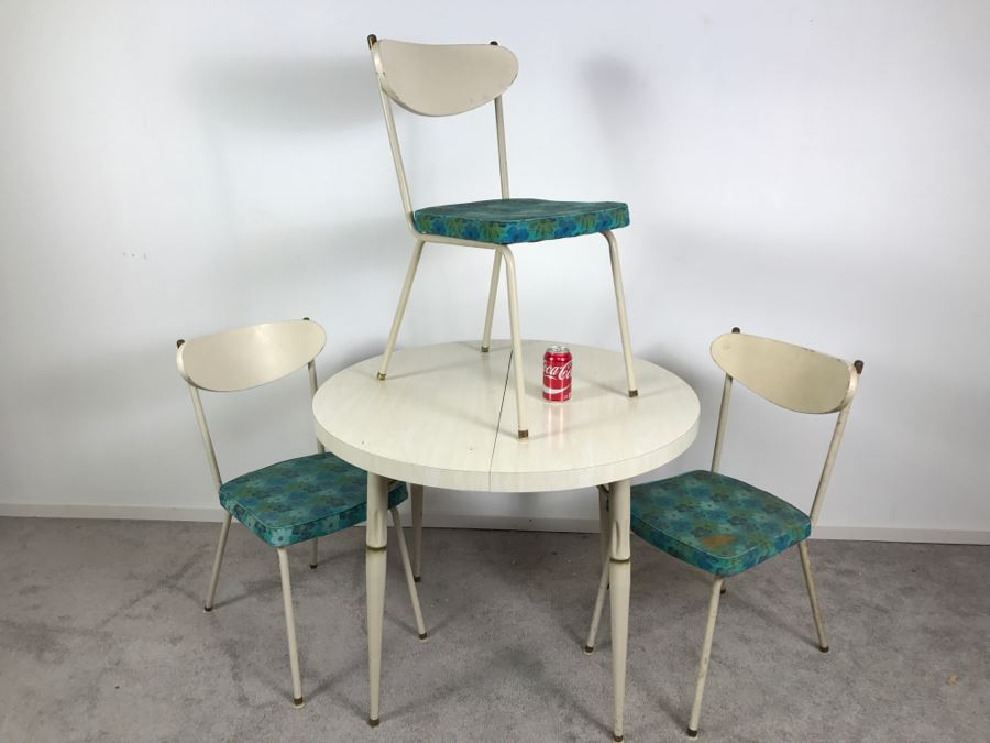 Vintage Mid Century Modern Metalcraft Set Of 3 Chairs With Round Table  Styled Steel Furniture