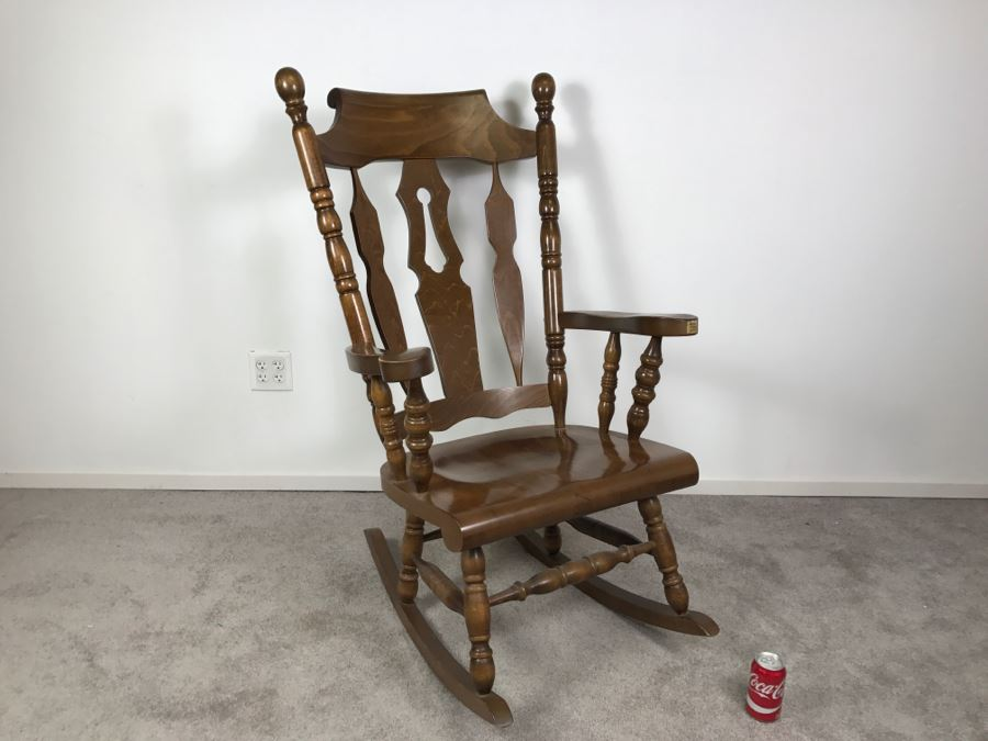 Exceptional Oversized Wooden Rocking Chair From Yugoslavia [Photo 1]