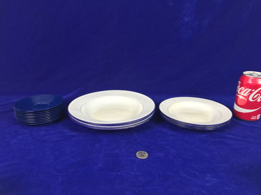 (9) Asian Metal Enamel Plates With (9) Noritake Melamine Ware Japan [ & Asian Melamine Plates u0026 Asian ...