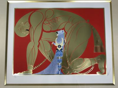 Romain Erte Framed Limited Edition Serigraph Print With Gold Foil Stamping Title 'Samson & Delilah' Signed By ERTE 75 Of 300 37' X 31.5' Retails $11,850