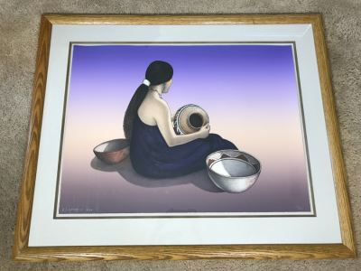 R.C. Gorman Limited Edition Lithograph Titled 'Indian Market' 1984 Signed 106 Of 200 26' X 35' With COA Estimate $4,700