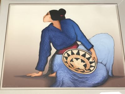 R.C. Gorman Limited Edition Lithograph Titled 'Woman With A Basket' 1984 Signed 31 Of 200 37' X 28' With COA Estimate $3,600