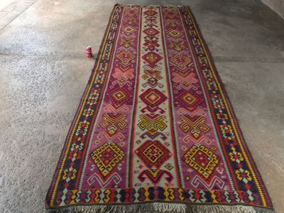 Vintage Turkish Kilim Wool Rug With Vivid Colors 4'9' X 12'5' - Great Designer Rug