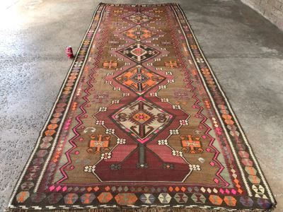 Stunning Vintage Turkish Kilim Wool Rug 5' X 13' - Great Designer Rug