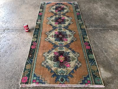Vintage Turkish Rug 3' X 6'3'