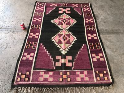 Vintage Turkish Kilim Rug With Vivid Colors 4'4' X 6'1'