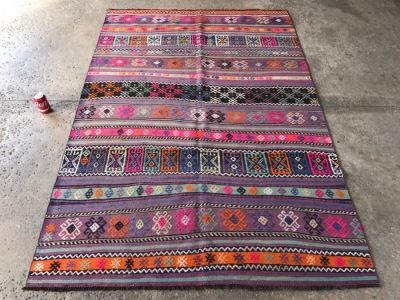 Vintage Turkish Embroidery Kilim Rug With Vivid Colors 4'10' X 7'2'