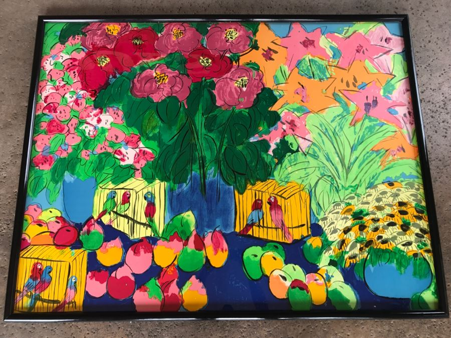 Walasse Ting Print Framed Flowers And Parrots No