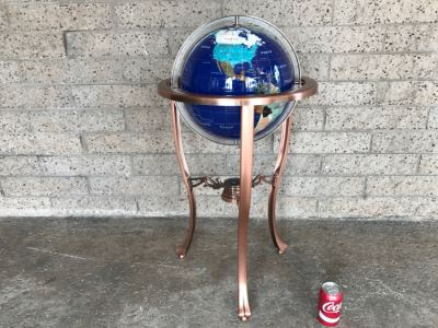 Blue Lapis Ocean Floor Standing Gemstone World Globe With Copper Tripod Stand And Working Compass - 3'H X 1'7'R