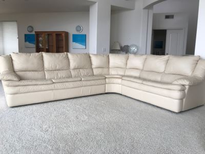 Large White Leather Sectional Sofa - See Photos For Wear Of Seat On Left End