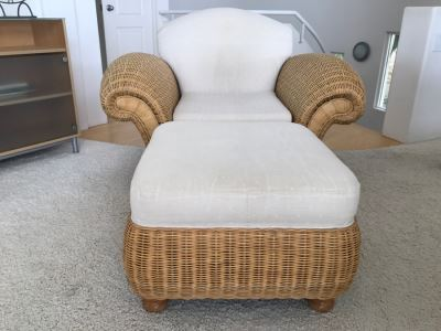 PALECEK Wicker Armchair With Ottoman Retails For Over $2,000