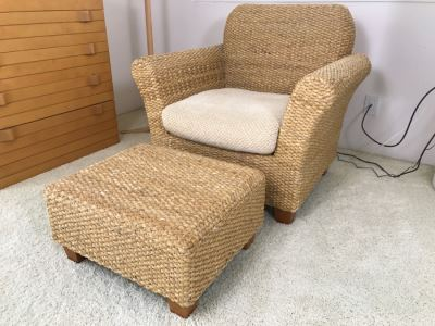 Woven Rope Armchair With Matching Ottoman