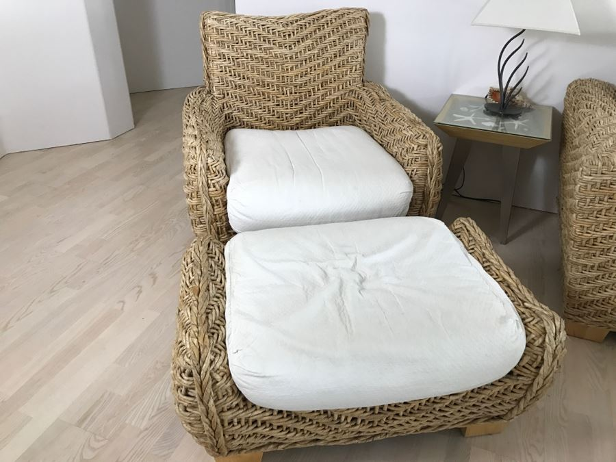Cool Benchcraft Woven Rope Armchair With Matching Ottoman Uwap Interior Chair Design Uwaporg