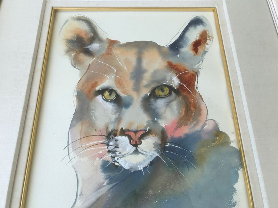 d6a985afc3465 Original Watercolor Of Mountain Lion By Local Artist C Fleming