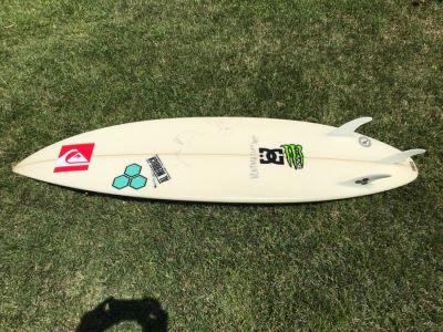 DANE REYNOLDS Personal Surfboard Signed 6'2' - Multiple Areas Where He Wrote 'VENTURA SURF SHOP' - Possibly Best Freestyle Surfer Ever Tied With Kelly Slater - Item Has Reserve