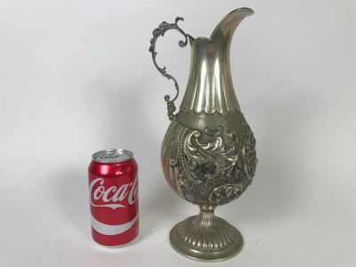 Stunning Antique 800 Silver Claret Jug Embossed With Acanthus Leaf Decoration 569g