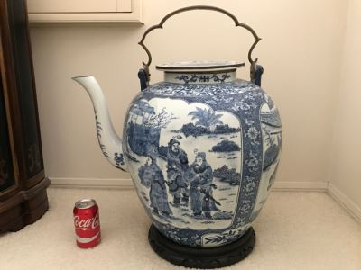 HUGE Signed Blue And White Asian Tea Pot With Brass Handle And Presentation Stand