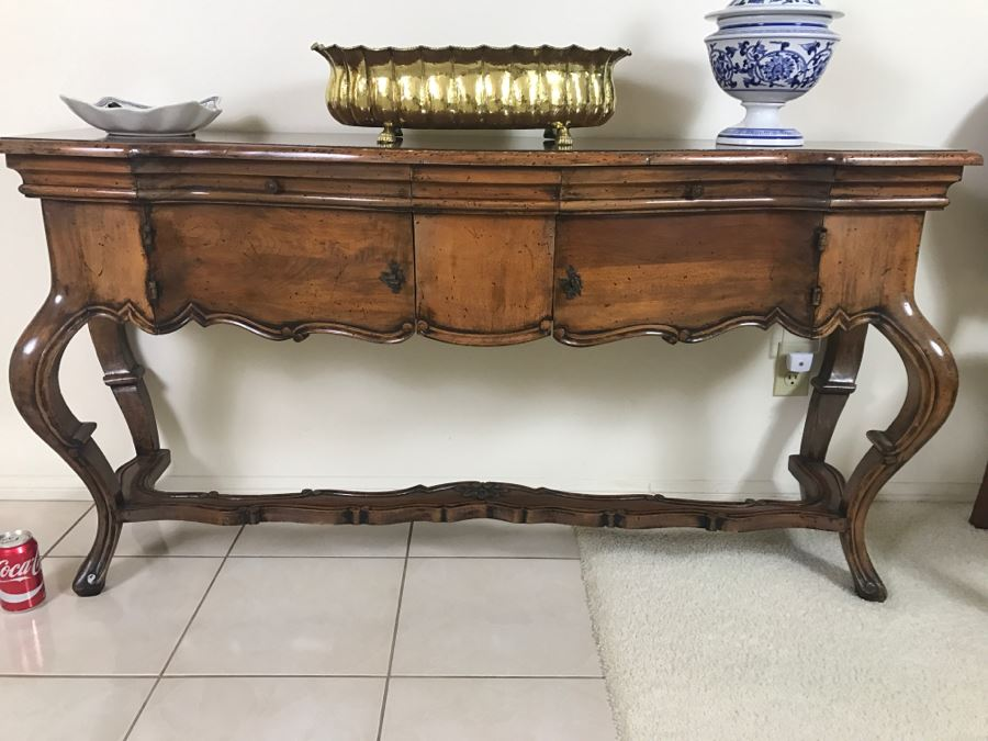 Stunning Reproduction Hallway Console Table All Wood With Storage [Photo 1]