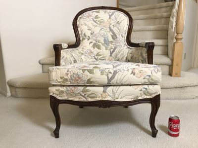 Nice Wooden Armchair With Floral And Bird Motif Upholstery