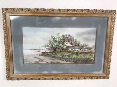 Antique 1894 Landscape Painting By F. M. Truesdell In Stunning Gilt Wood Frame