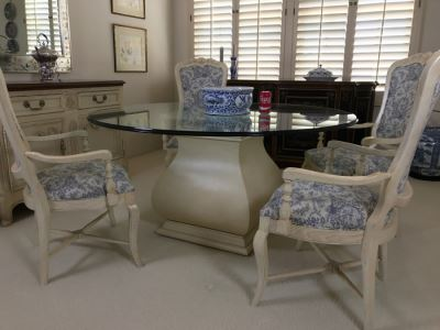 Beautiful Set Of 4 Century Furniture Blue And White Armchairs With Round Glass Top Pedestal Dining Table