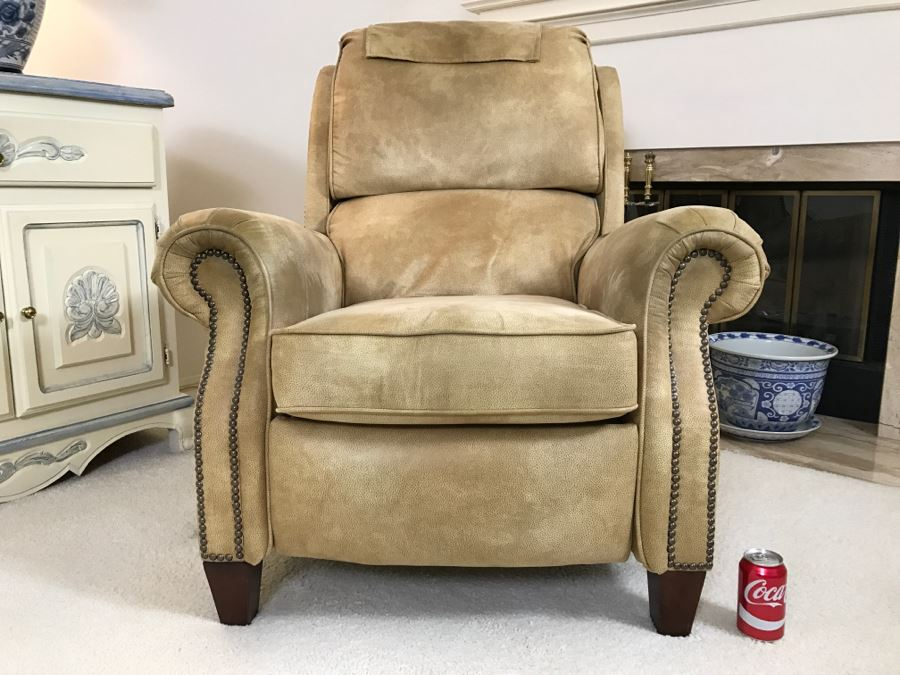 Light Brown Suede Leather Barcalounger Recliner Chair