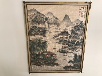 Large Commissioned Silk Chinese Landscape Painting By Peter Pan? In Stunning Gilt Wood Frame