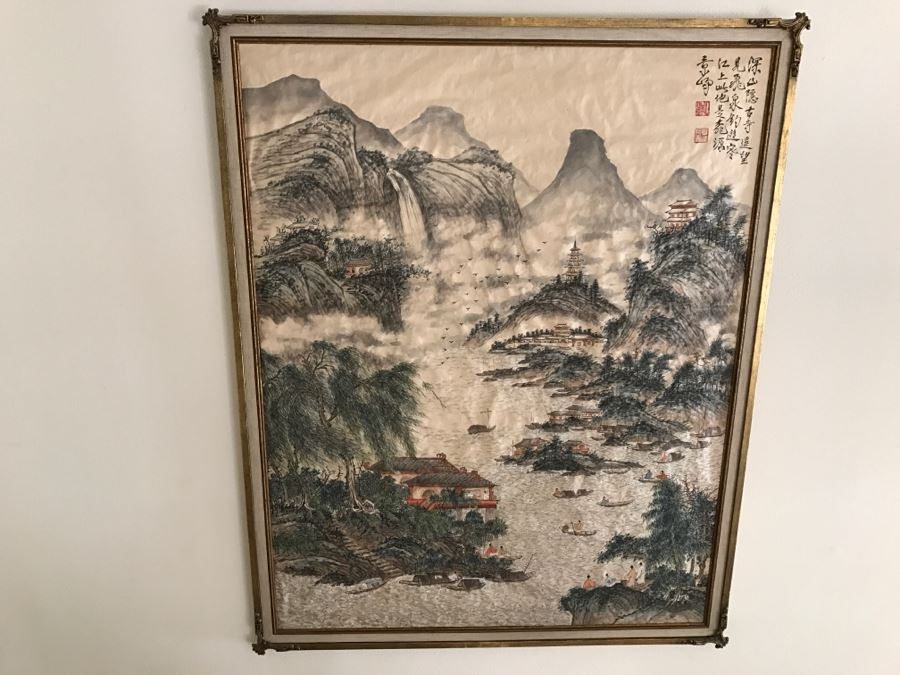 Large Commissioned Silk Chinese Landscape Painting By Peter Pan? In Stunning Gilt Wood Frame [Photo 1]