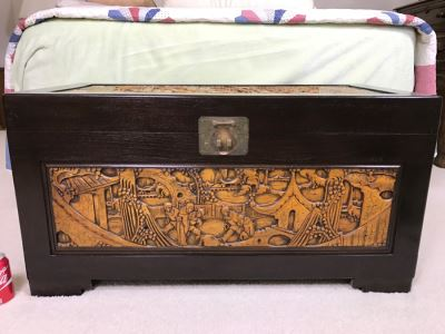 Nice Carved Wood Chinoiserie Cedar Lined Chest With Heating Blanket, Needlepoint Stockings And Other Items