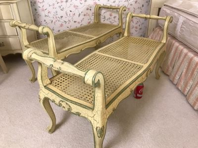 Pair Of Yellow Vintage Shabby Chic Cane Benches