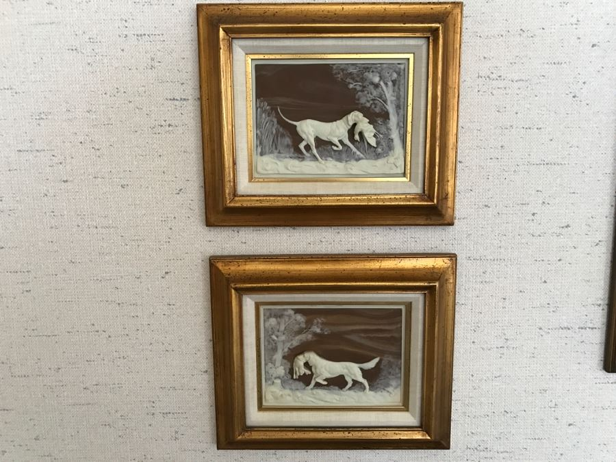 Pair Of Framed Bas-Relief Hunting Dog Pictures