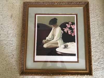 Douglas Hofmann Nude 'Pink Flowers' Hand-Signed Lithograph Print 1988 29 Of 200